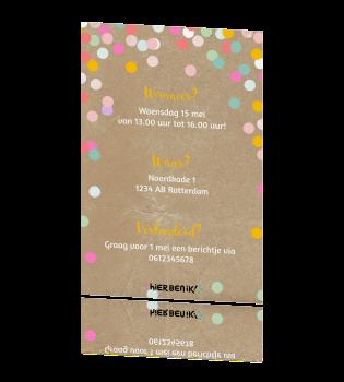 Hedendaags Vrolijke uitnodiging 3e verjaardag meisje met confetti op kraft IQ-64