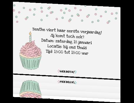 Betere Uitnodiging verjaardagsfeestje met cake en 1 kaartje YT-72