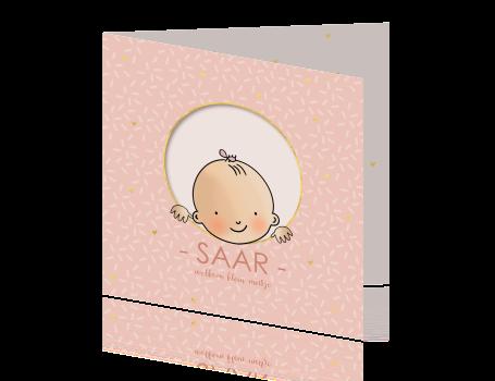 Geboortekaartje baby meisje cirkel