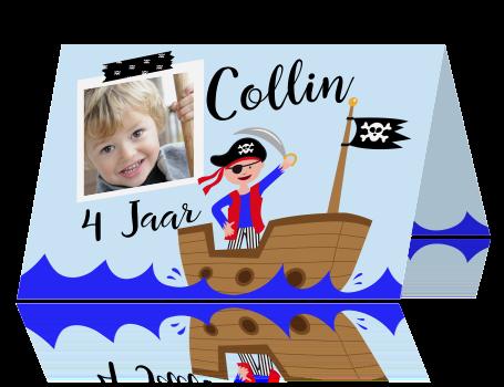 Stoere Uitnodiging Kinderfeestje 4e Verjaardag Jongen Met Piraat