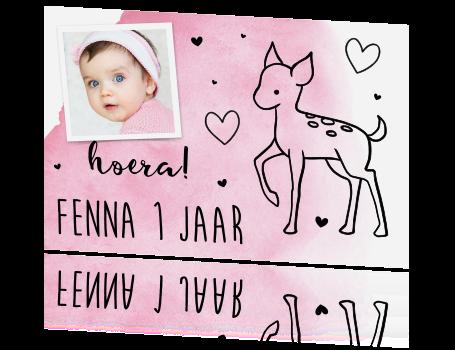 Lieve Uitnodiging Voor 1e Verjaardag Meisje Met Tekening Van Hertje