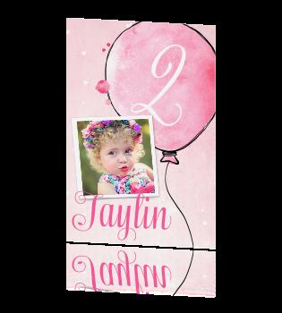 Ongekend Lieve uitnodiging kinderfeestje meisje met roze watercolor en ballon MG-03